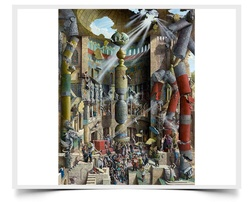 Babel, The Fall - Imaginative Realism Painting Print by Howard Fox Artist