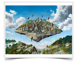 Balloon Island - Fiction Painting Print by Howard Fox Artist