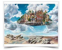 Floating City - Imaginative Realism Painting Print by Howard Fox Artist