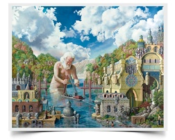 Lending a Hand - Imaginative Realism Painting Print by Howard Fox Artist