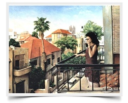 Morning Coffee, Shabat, Tel Aviv - Imaginative Realism Painting Print by Howard Fox Artist
