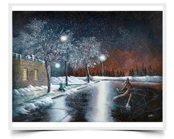 Skating on Black Ice - Imaginative Realism Painting Print by Howard Fox Artist