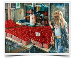 Tutim, Strawberries - Imaginative Realism Painting Print by Howard Fox Artist