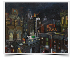 Hotel Utopia Painting Print by Howard Fox Artist