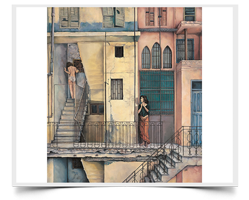 Florentine Moment - Imaginative Realism Painting Print by Howard Fox Artist