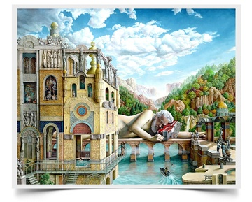 Giant Dreams - Imaginative Realism Painting Print by Howard Fox Artist