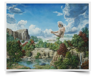 Giant Morning - Imaginative Realism Painting Print by Howard Fox Artist