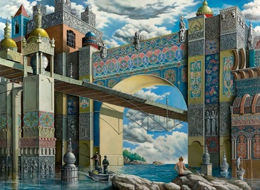 Under the Bridge - Imaginative Realism Painting by Howard Fox Contemporary Realist Painter