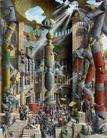 Babel, the Fall - Imaginative Realism Painting by Howard Fox Contemporary Realist Painter