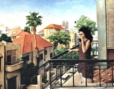 Morning Coffee, Shabat, Tel Aviv - Imaginative Realism Painting by Howard Fox Contemporary Realist Painter