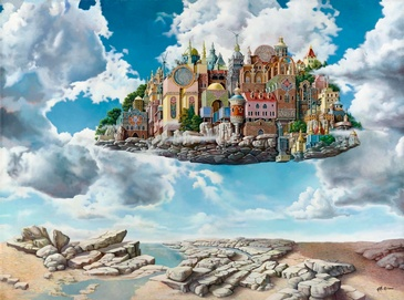 Floating City - Imaginative Realism Painting by Howard Fox Contemporary Realist Painter