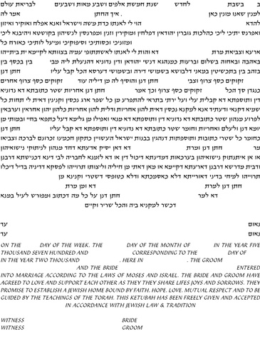 Ketubah Conservative Text - Modern Ketubah Text Template by Howard Fox Artist