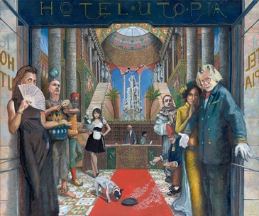 Hotel Utopia Welcome - Hotel Utopia Painting Pardes Hanna-Karkur by Howard Fox Artist