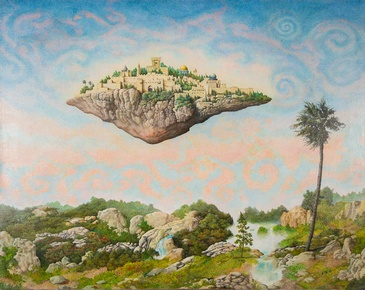 Floating Jerusalem - Imaginative Realism Painting by Howard Fox Contemporary Realist Painterr