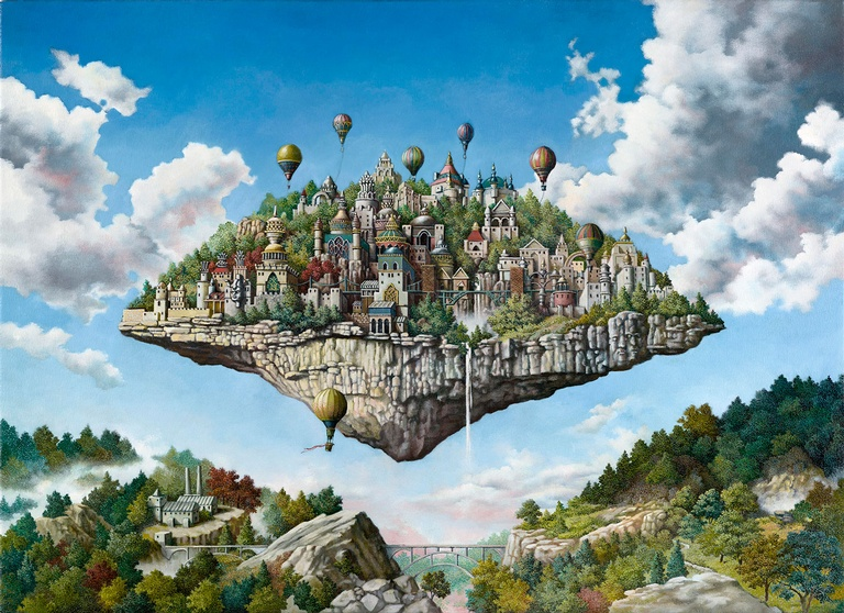 Balloon Island - Imaginative Realism Painting by Figurative Artist Howard Fox