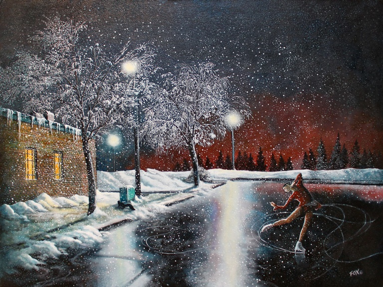 Skating on Black Ice - Imaginative Realism Painting by Howard Fox Contemporary Realist Painter