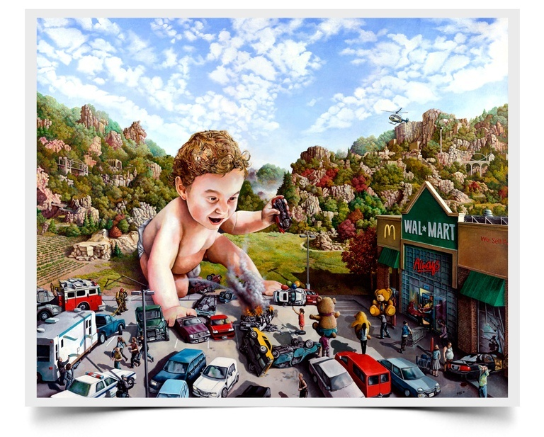 Attention Walmart Shoppers - Imaginative Realism Painting Print by Howard Fox Artist