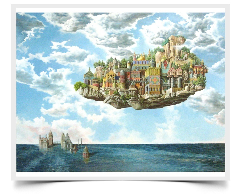 Floating Above the Flood - Fiction Painting Print by Howard Fox Artist