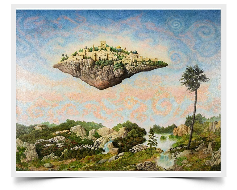 Floating Jerusalem - Fiction Painting Print by Howard Fox Artist