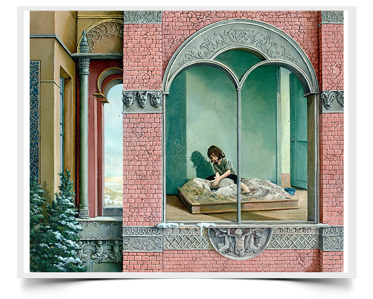 Sandbox - Imaginative Realism Painting Print by Howard Fox Artist